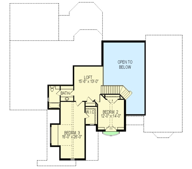 Second level floor plan with two bedrooms and a loft.