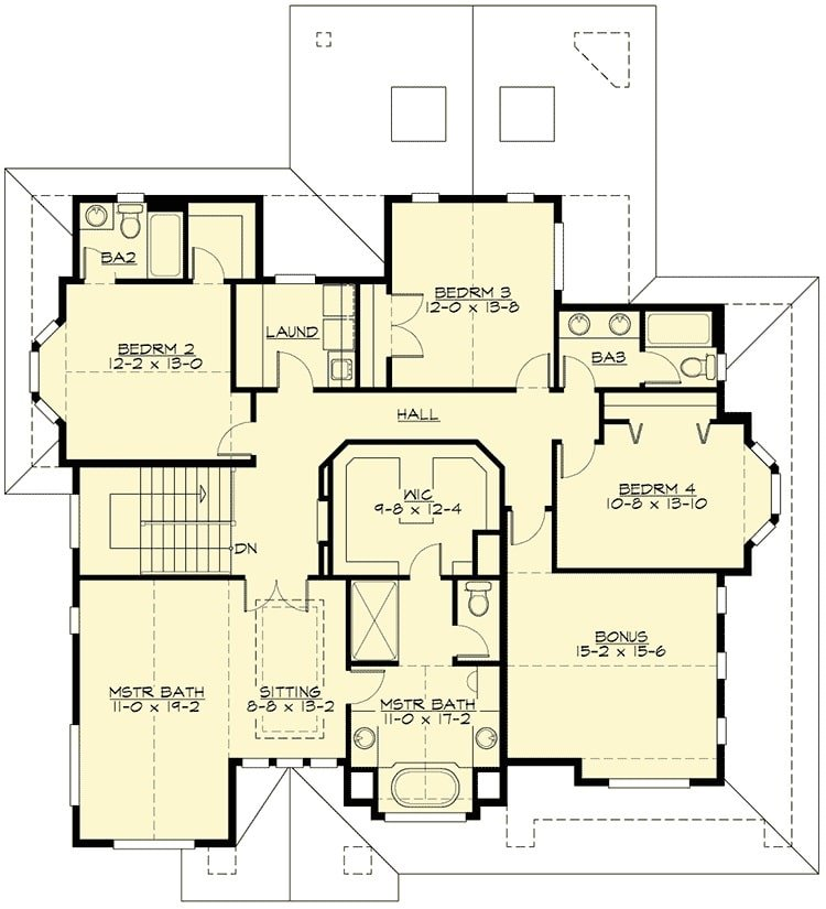 Second level floor plan with four bedrooms and a bonus room.