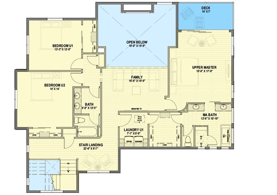 Second level floor plan with family room, laundry room, and three bedrooms including the second primary suite.