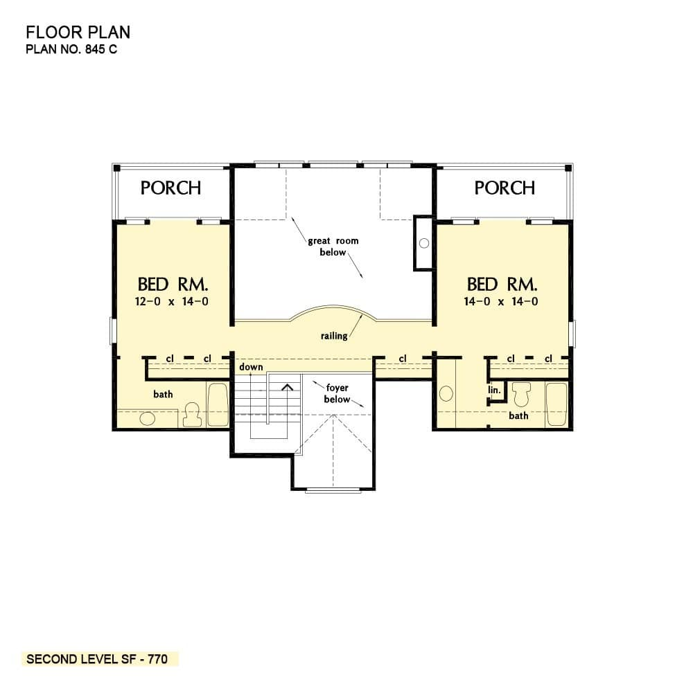 Second level floor plan two bedroom suites separated by a balcony bridge.