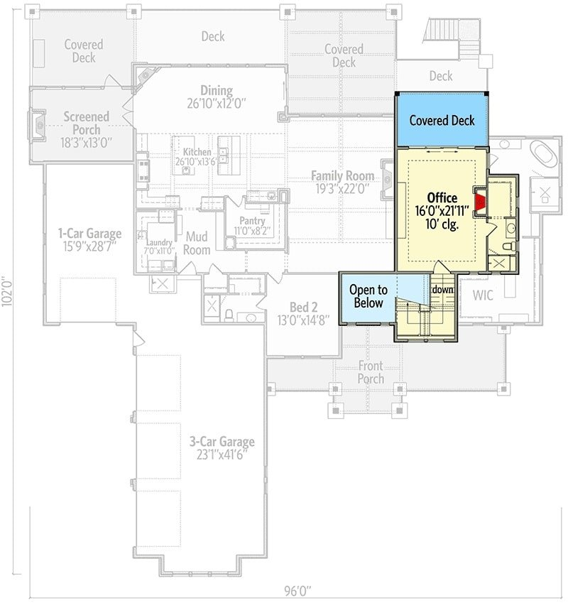 Second level floor plan with an office complete with a full bath and a covered deck.