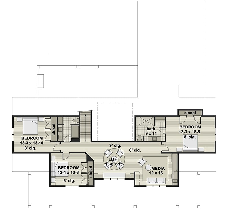 Second level floor plan with three bedrooms, two baths, a media room, and a balcony loft.