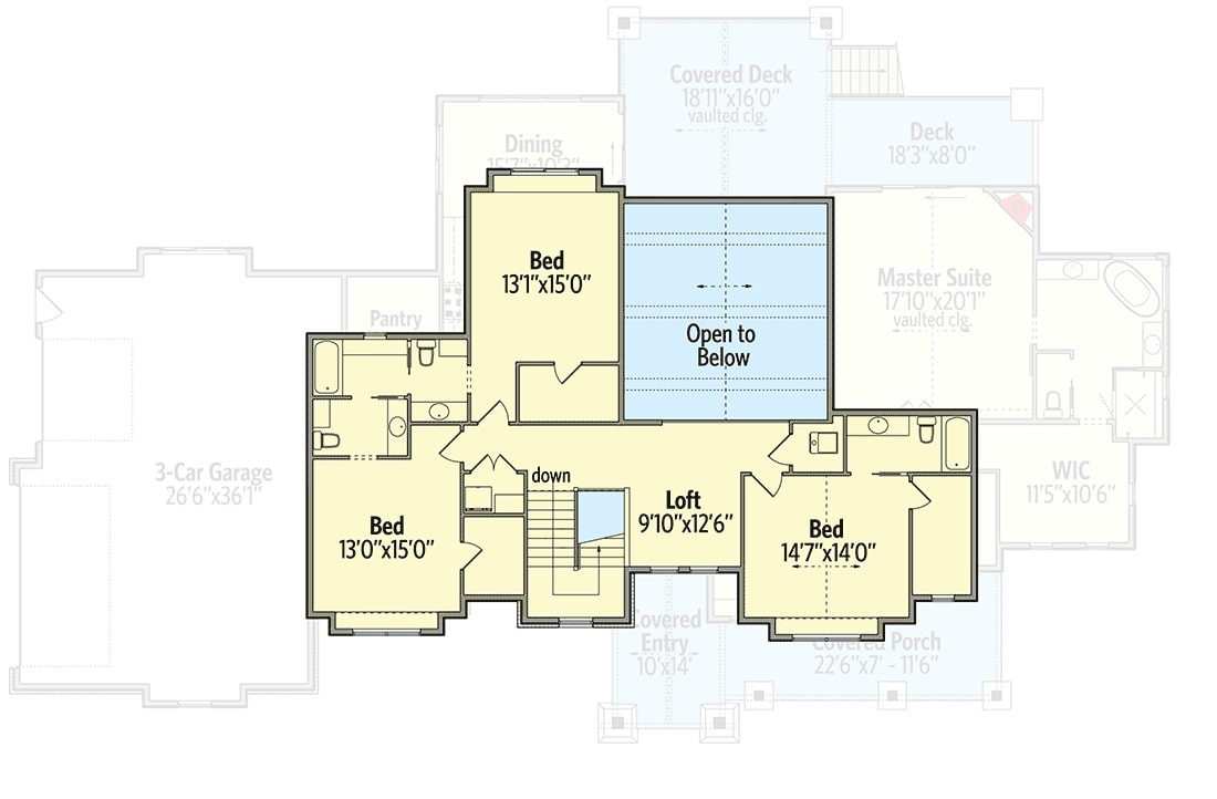 Second level floor plan with three bedrooms, two baths, and a loft.