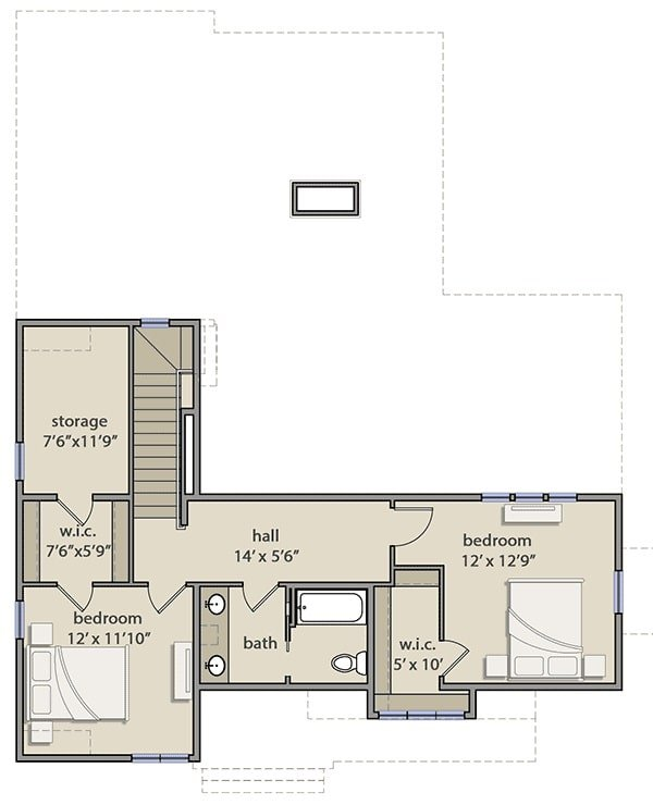 Second level floor plan with two more bedrooms, a full bath, and a large storage space.
