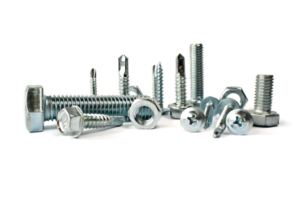 A close look at various bolts, nuts and screws.