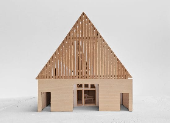 This is a model representation of the house's front elevation.