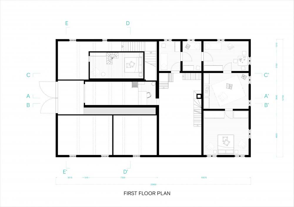 This is an illustration of the house's main level floor plan.