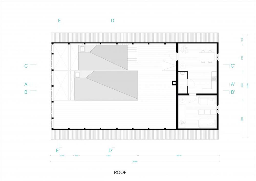 This is an illustration of the house's roof level floor plan.