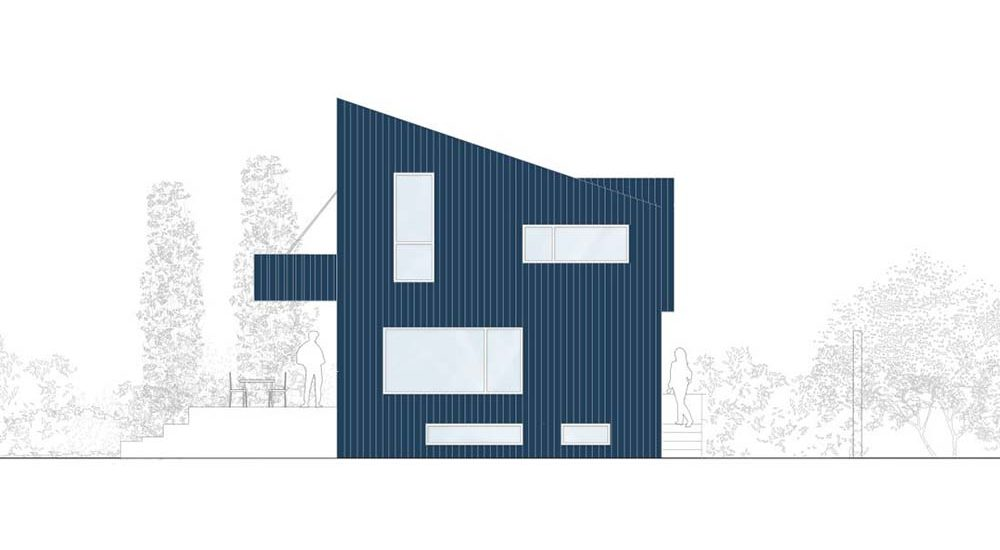This is an illustration of the side elevation of the house.