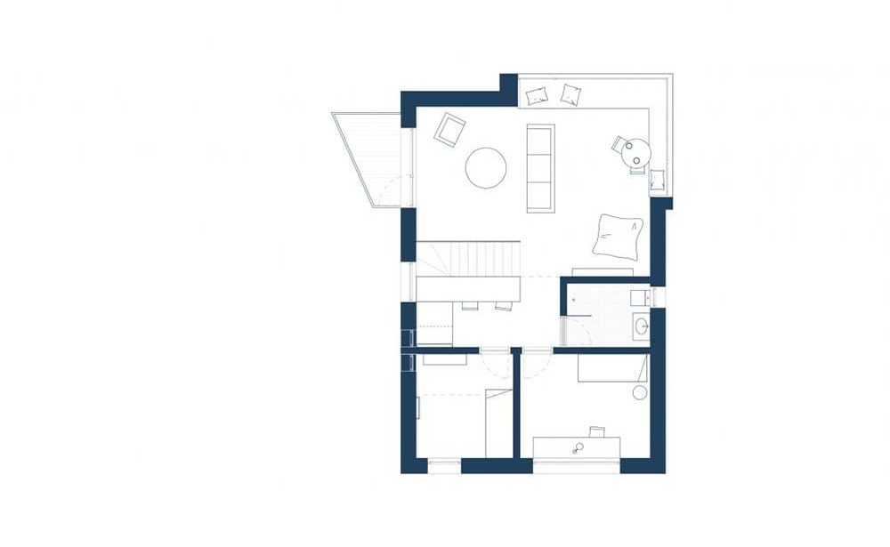 This is an illustration of the house's first level floor plan.