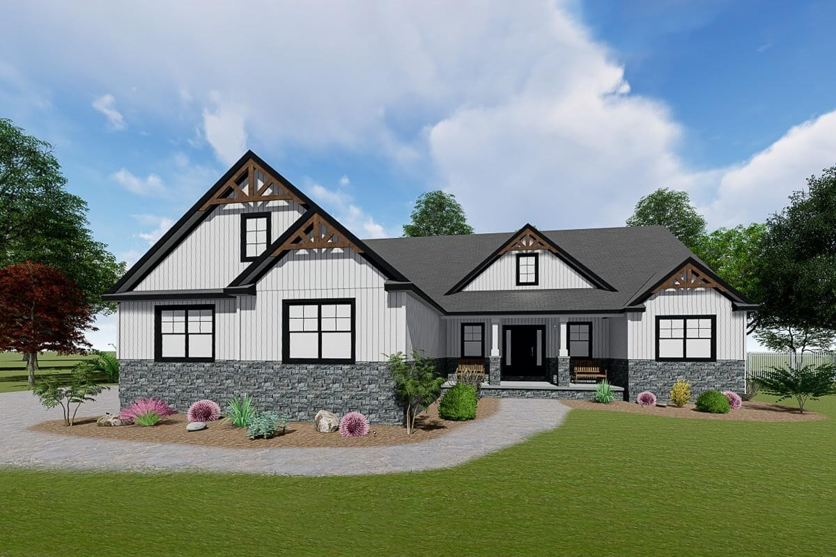 Front rendering of the single-story 3-bedroom craftsman home.