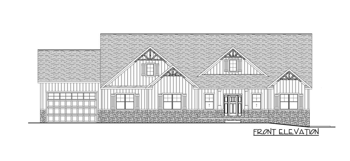 Front elevation sketch of the single-story 3-bedroom craftsman home.
