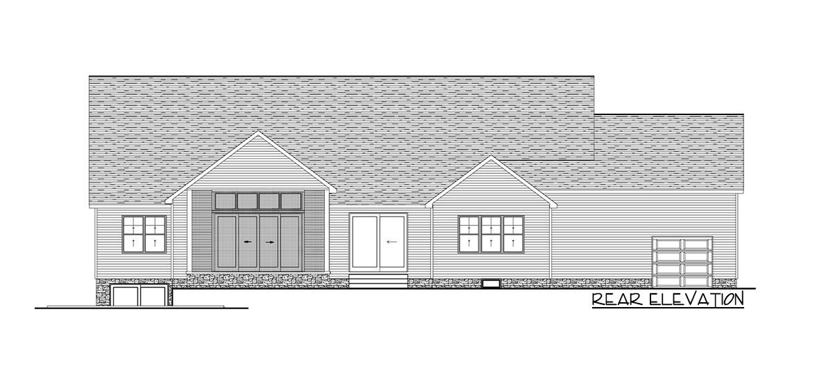 Rear elevation sketch of the single-story 3-bedroom craftsman home.