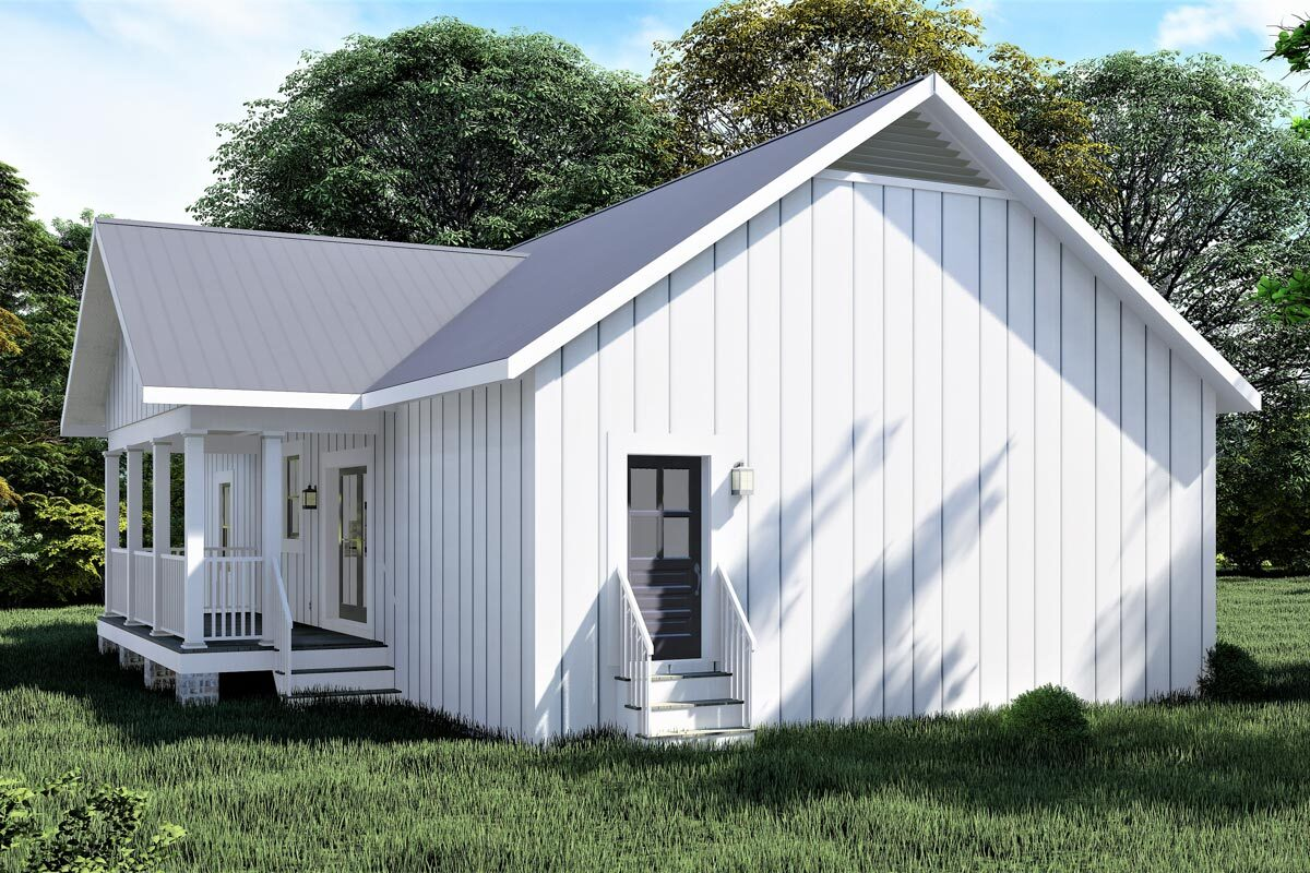 Left rendering of the single-story 3-bedroom Southern country home.