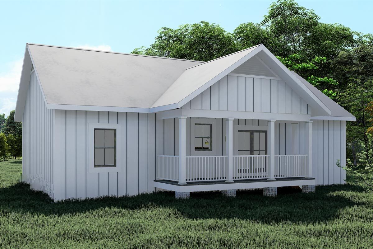 Rear rendering of the single-story 3-bedroom Southern country home.