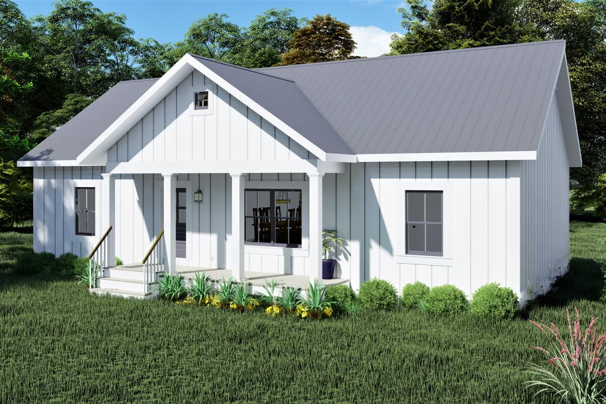 Front-right rendering of the single-story 3-bedroom Southern country home.