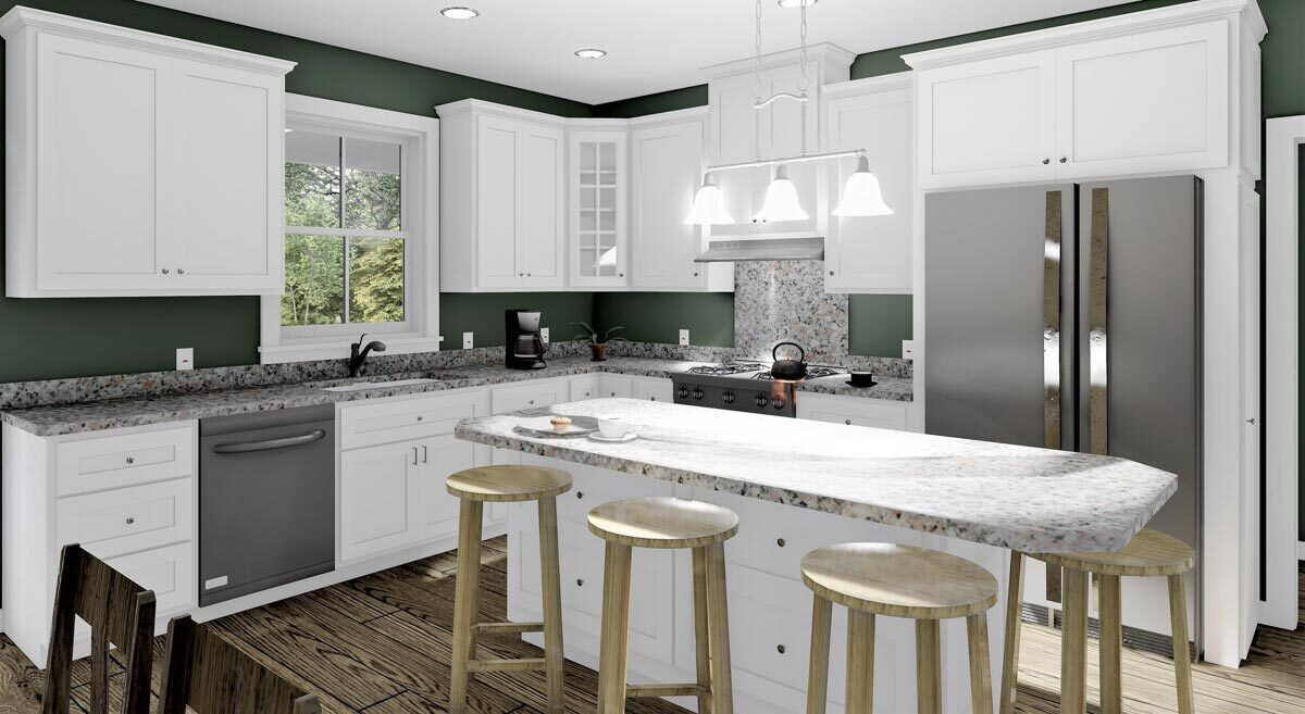 The kitchen is equipped with slate appliances, granite countertops, white cabinetry, and a breakfast island.