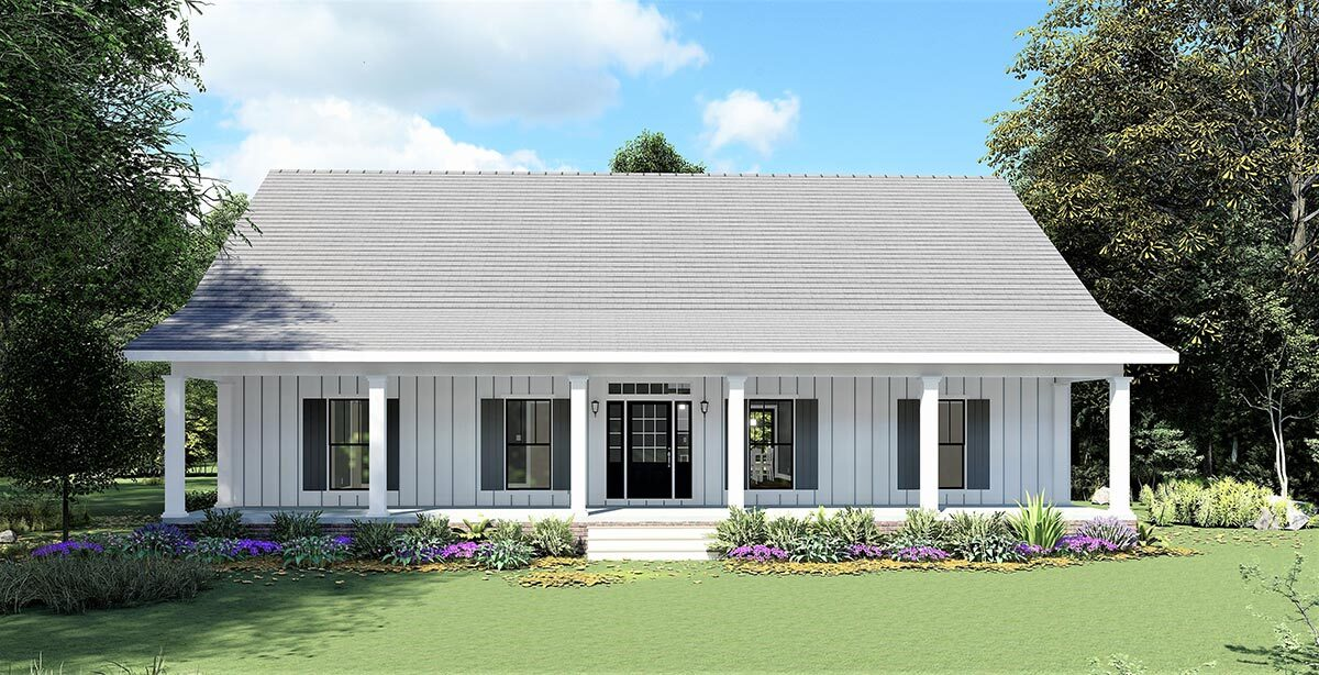 Front rendering of the single-story 4-bedroom country farmhouse.