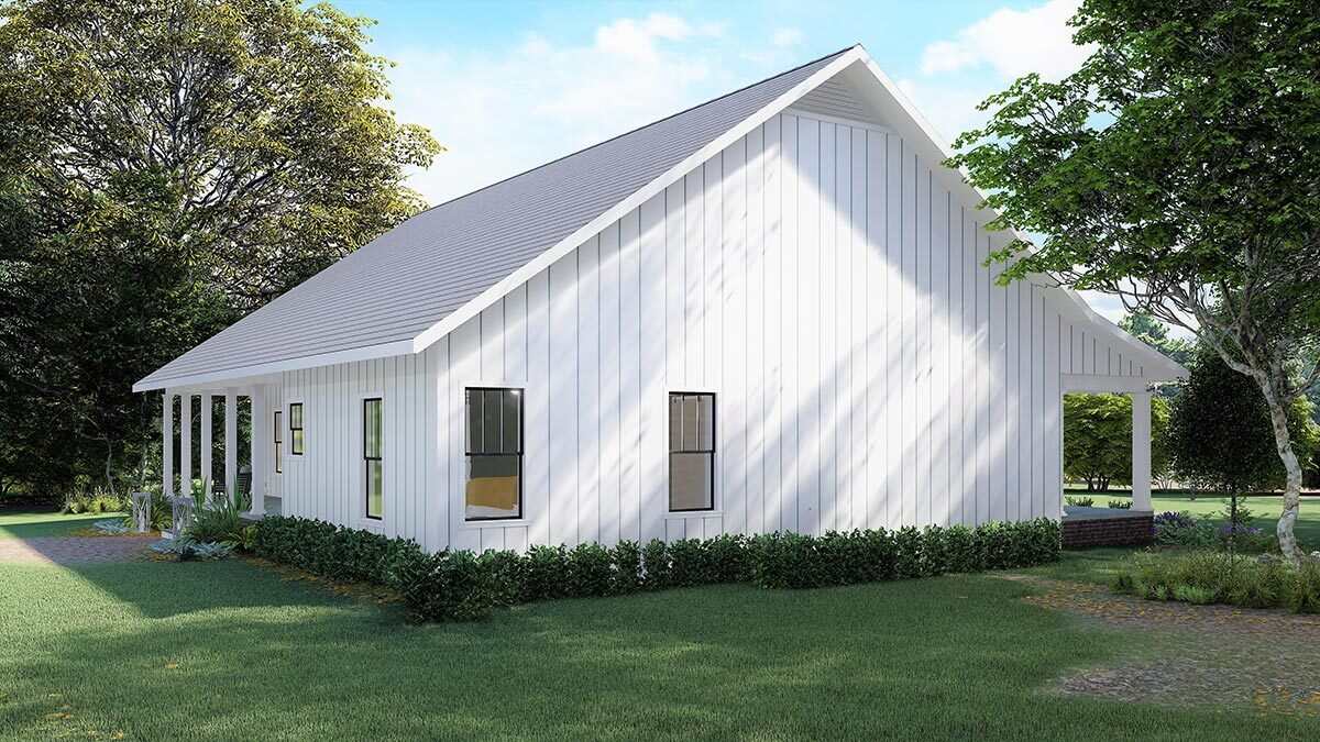 Left rendering of the single-story 4-bedroom country farmhouse.