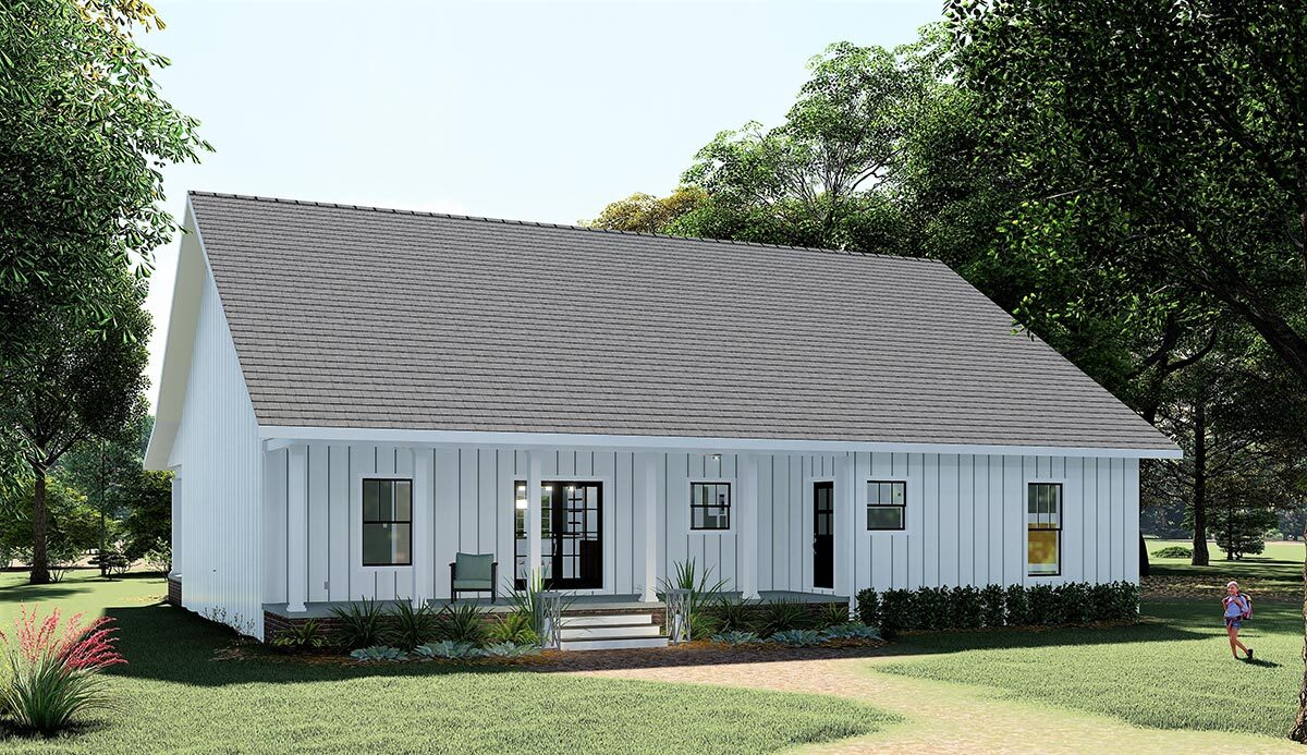 Rear rendering of the single-story 4-bedroom country farmhouse.