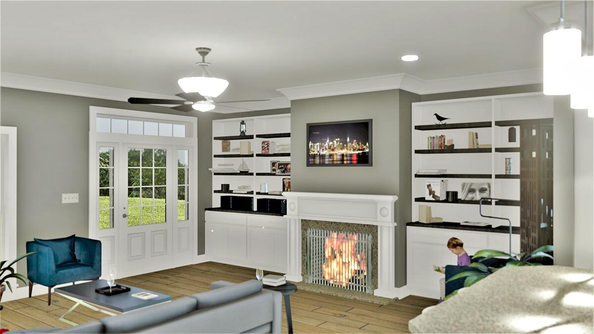White built-ins and a cozy fireplace complete the living room.