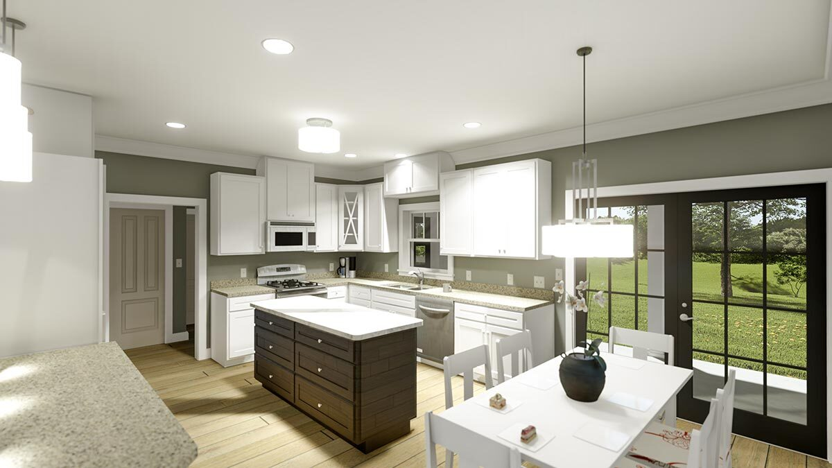 Across the kitchen is the dining space with a white rectangular table and matching chairs.