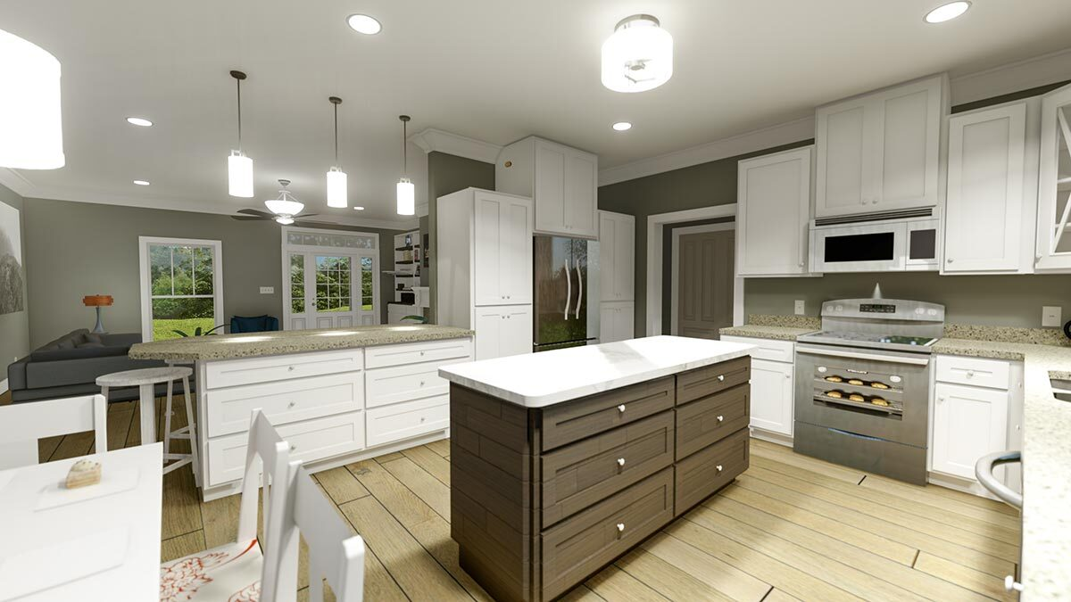 The kitchen is equipped with stainless steel appliances, granite countertops, white cabinetry, and a center island.