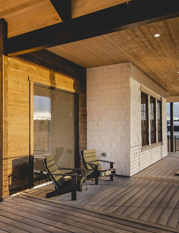 These black loungers made this porch a perfect spot for unwinding and watching the sunset.