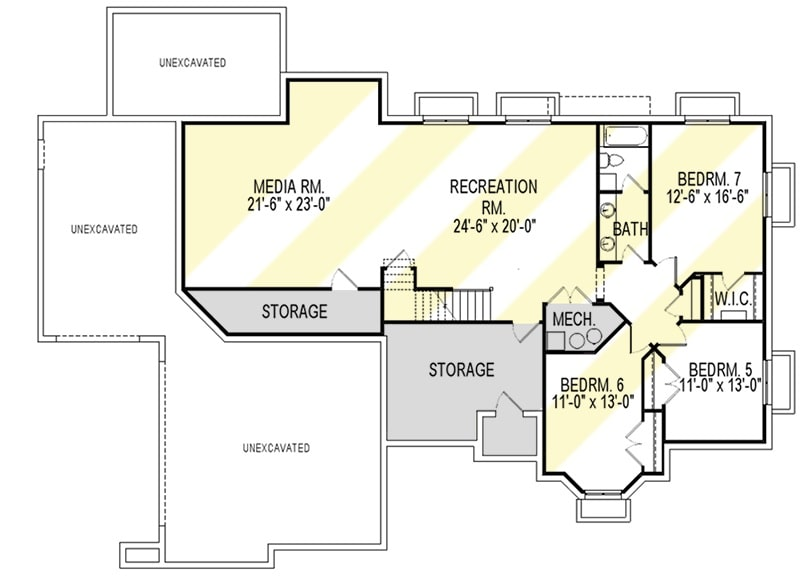 Lower level floor plan with three bedrooms, media room, recreation room, and plenty of storage spaces.