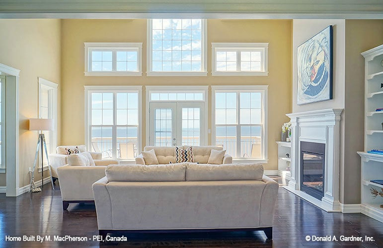 Clerestory windows and a french door bring in an abundant amount of natural light.
