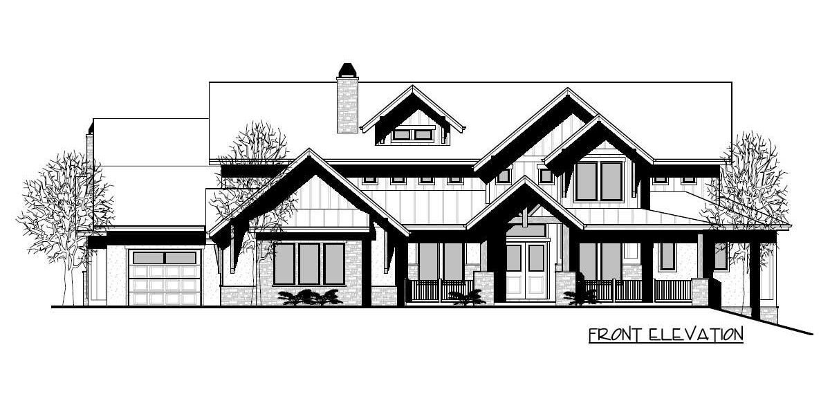 Front elevation sketch of the two-story 3-bedroom craftsman home.