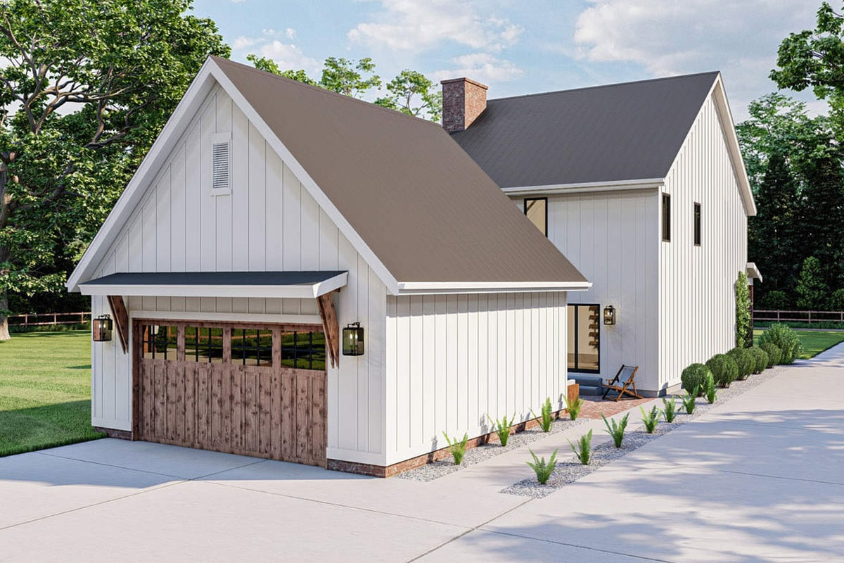 Rear rendering of the two-story 4-bedroom country home.
