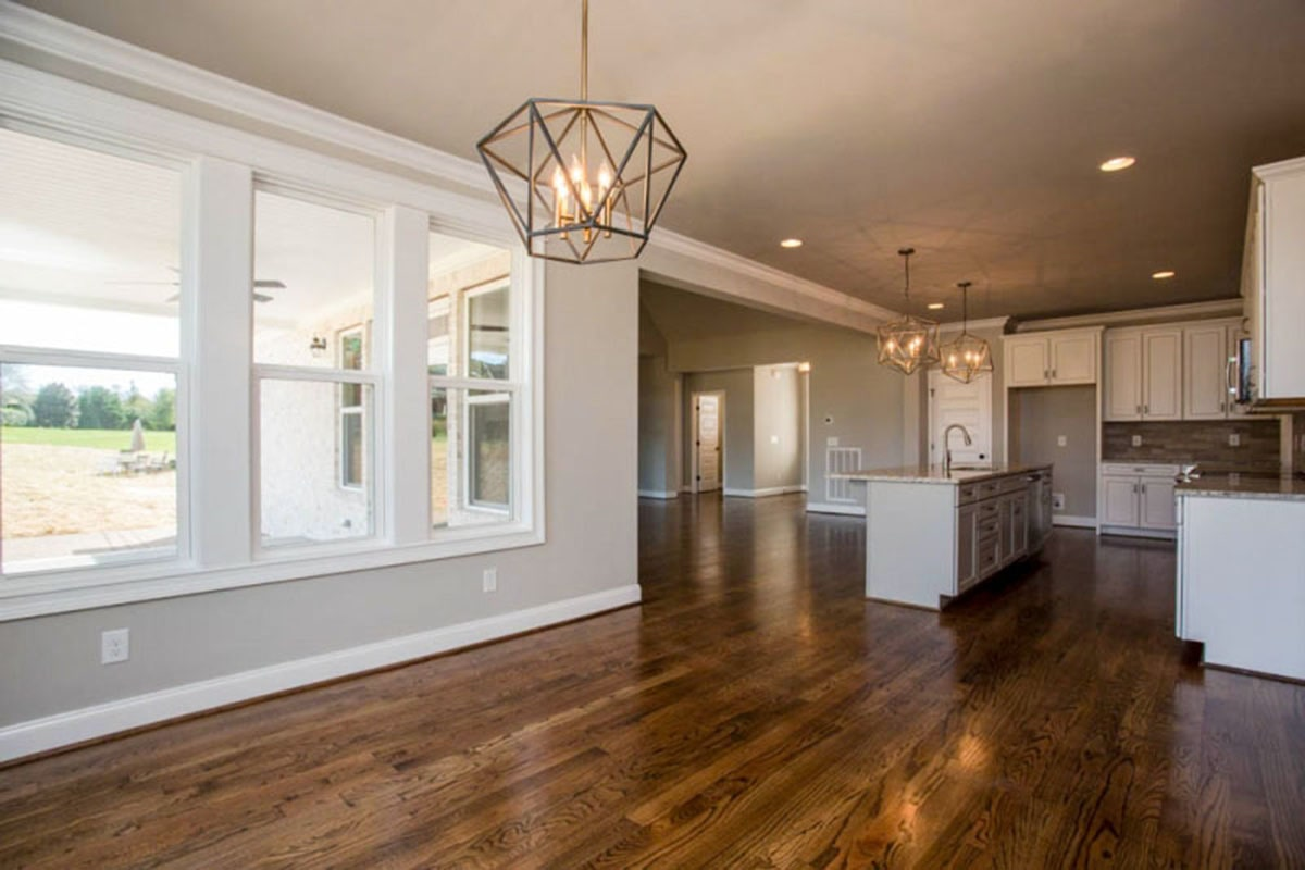 The kitchen freely flows into the dining area and living room.