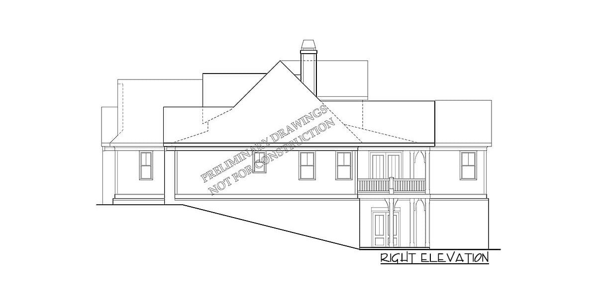 Right elevation sketch of the two-story 4-bedroom country home.