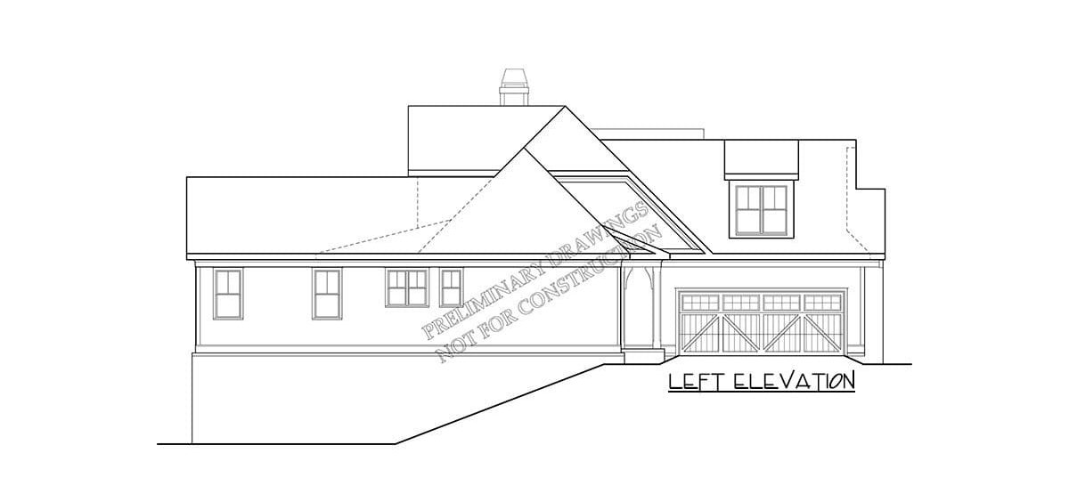 Left elevation sketch of the two-story 4-bedroom country home.