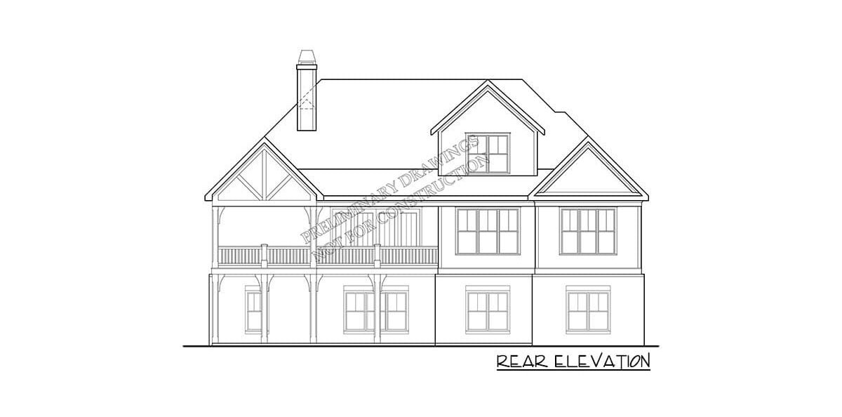 Rear elevation sketch of the two-story 4-bedroom country home.