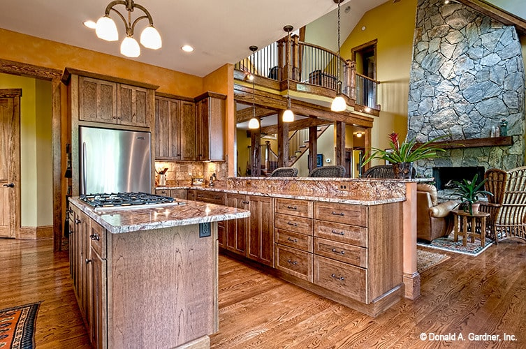 Behind the living room is the gourmet kitchen with plenty of counter space.