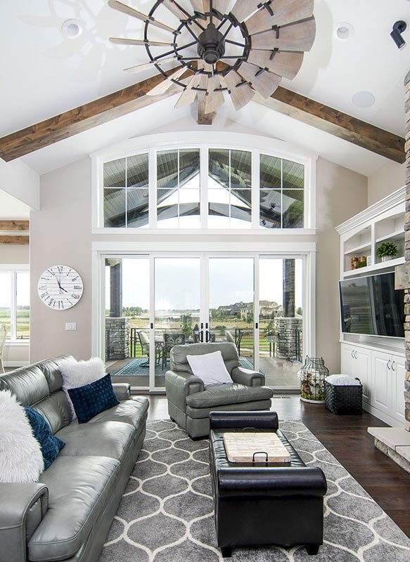 There's also clerestory windows and glass sliding doors that open to a covered deck.