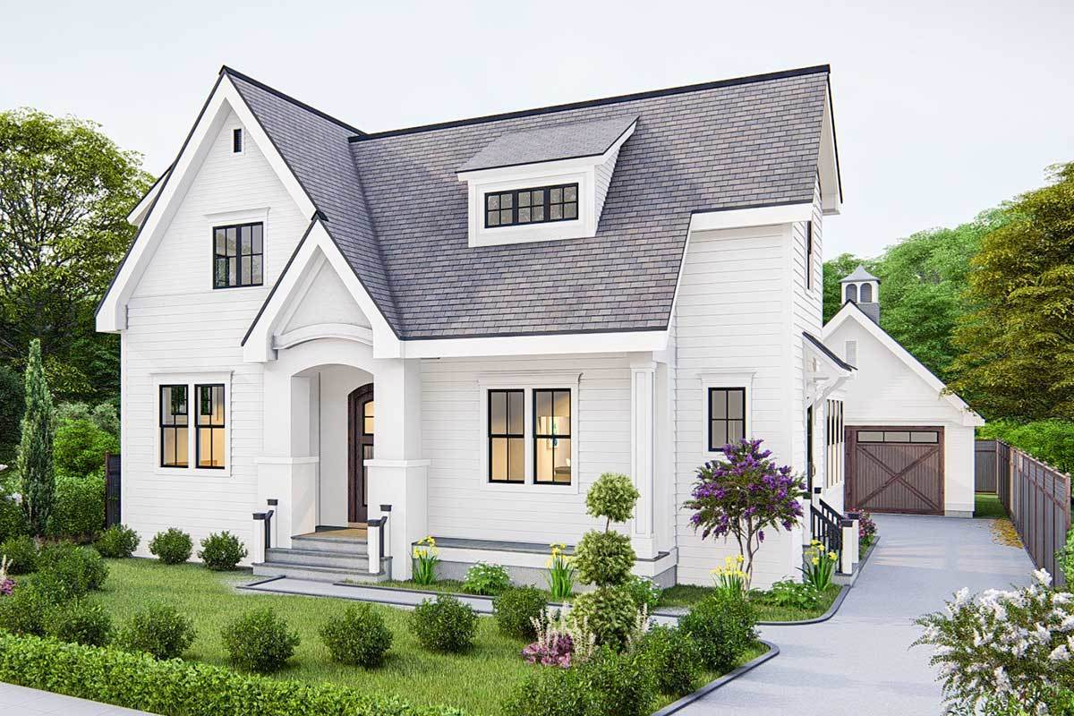 Front-right rendering of the two-story 4-bedroom traditional cottage.