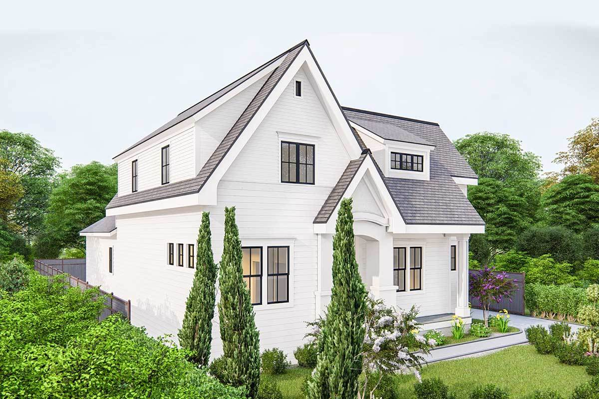 Front-left rendering of the two-story 4-bedroom traditional cottage.