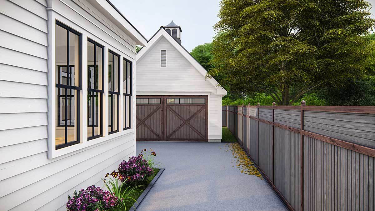 The detached garage sits at the home's rear.