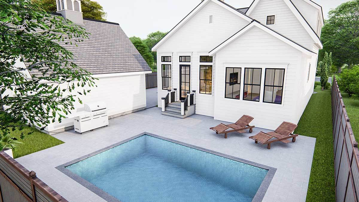 Rear rendering showing the open patio with a barbecue grill and an in-ground pool.