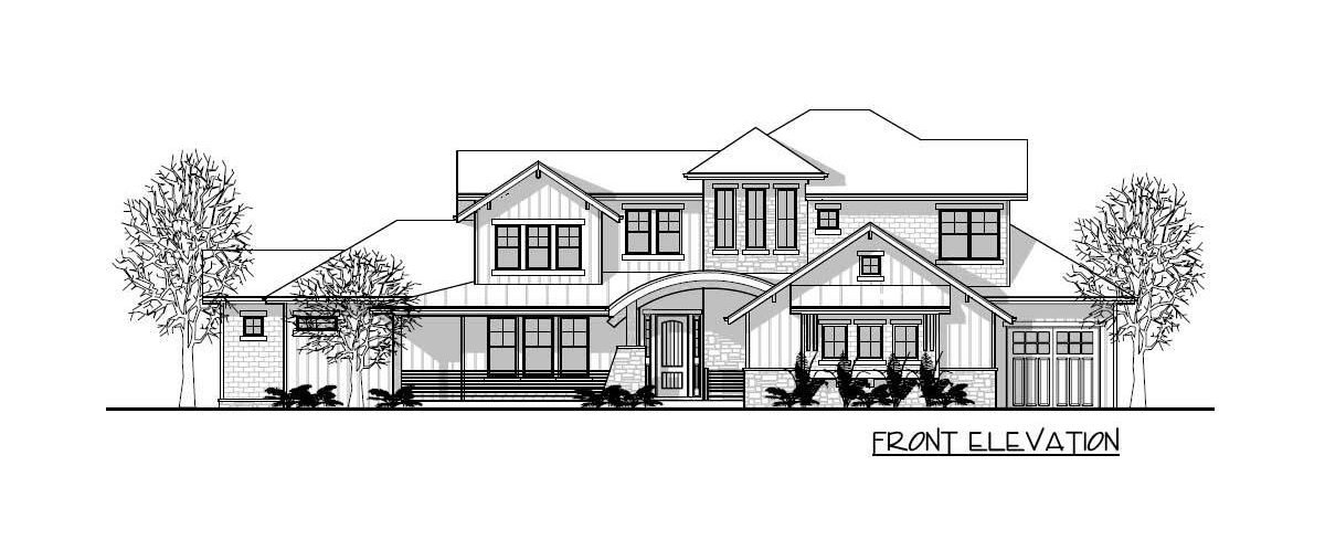 Front elevation sketch of the two-story 5-bedroom craftsman mountain home.