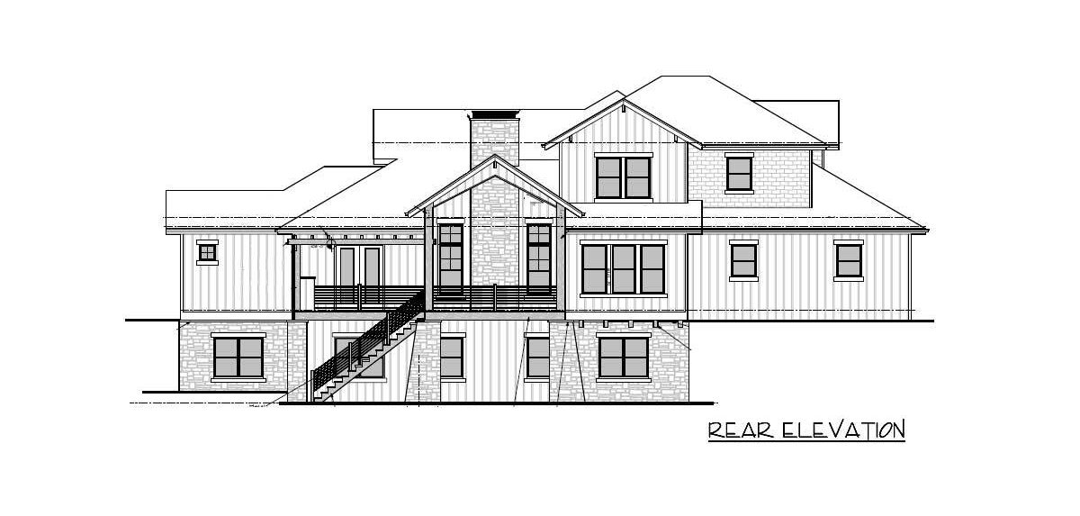 Rear elevation sketch of the two-story 5-bedroom craftsman mountain home.
