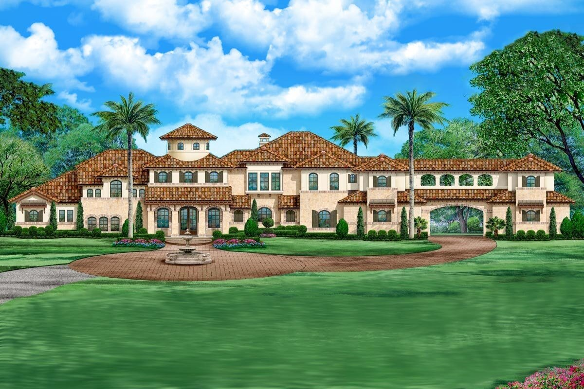 Two-Story 5-Bedroom Mediterranean Home for a Wide Lot with Two Bonus Rooms