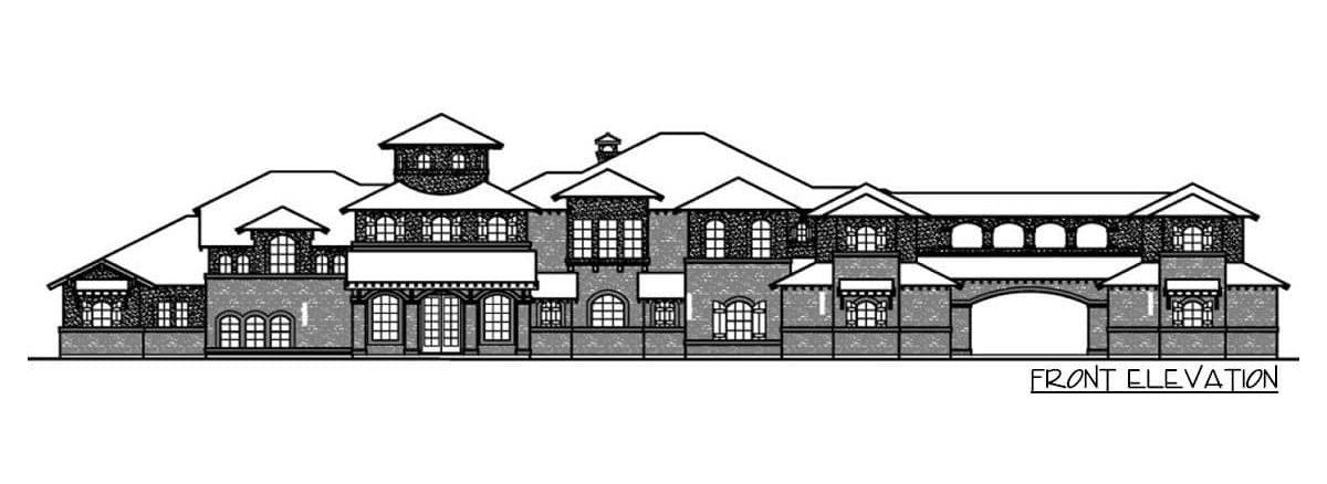 Front elevation sketch of the two-story 5-bedroom Mediterranean home.