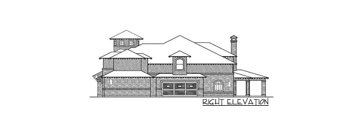 Right elevation sketch of the two-story 5-bedroom Mediterranean home.