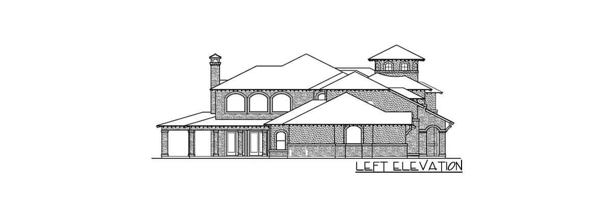 Left elevation sketch of the two-story 5-bedroom Mediterranean home.