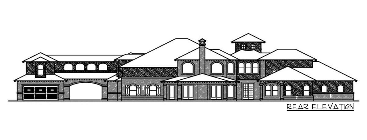 Rear elevation sketch of the two-story 5-bedroom Mediterranean home.