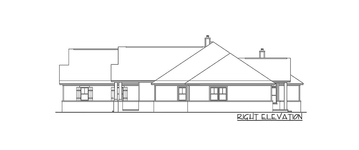 Right elevation sketch of the two-story 6-bedroom craftsman home.